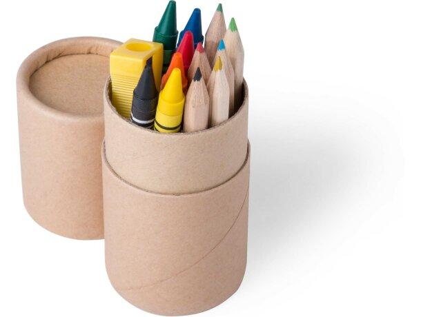 Set con ceras y lápices personalizada