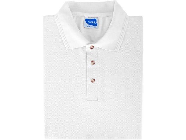 Polo manga corta tejido mixto de hombre 220 gr personalizado blanco