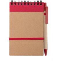 Bloc de notas mini con bolígrafo y detalles de color roja