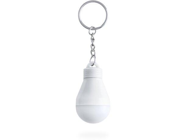 Llavero bombilla con linterna personalizado blanco