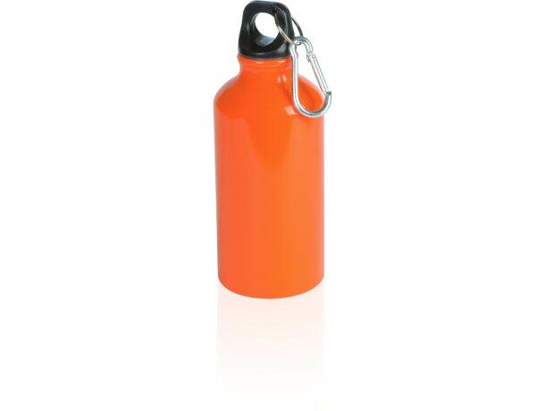 Bidón de aluminio con mosquetón 400 ml personalizada naranja