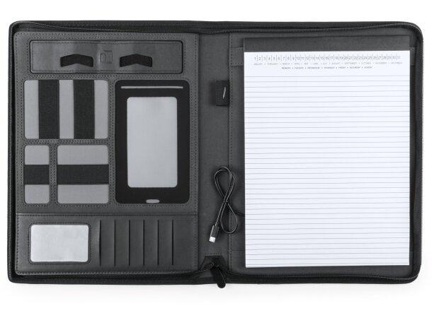 Carpeta negra con power bank personalizada
