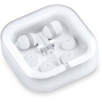 Cascos auriculares en estuche cort blanco