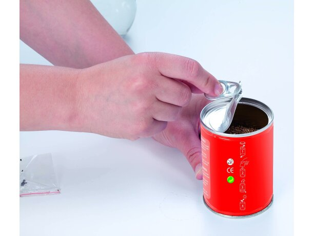 Lata metálica con semillas personalizada roja