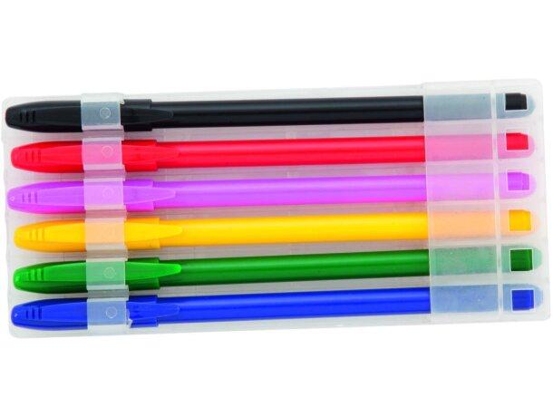 Estuche de seis bolígrafos de colores personalizado
