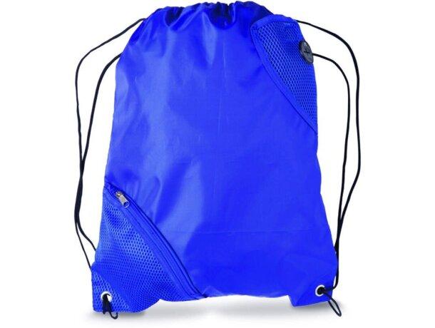 Mochila con cuerdas con bolsillo en esquina personalizada azul