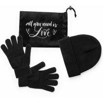 Set gorro y guantes unisex negro