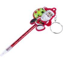 Bolígrafo papá noel con llavero personalizado rojo
