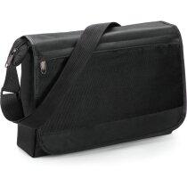 Bandolera de poliéster con bolsillo exterior personalizada negra