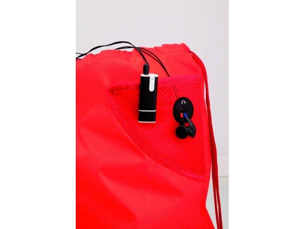 Mochila con cuerdas con bolsillo en esquina barata roja