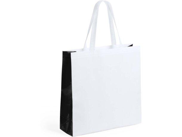 Bolsa de no tejido laminado blanco y lateral de color negra