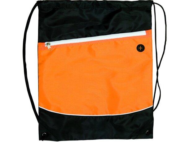Mochila bicolor con cuerdas personalizada naranja