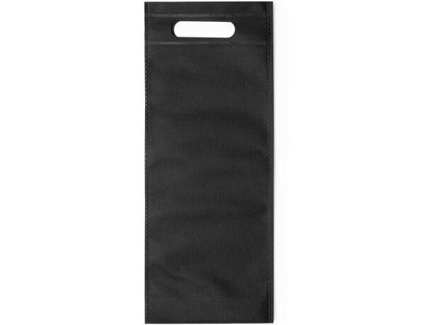 Bolsa de no tejido para 1 botella negra personalizada