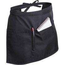 delantal negro con bolsillos para camarero personalizado