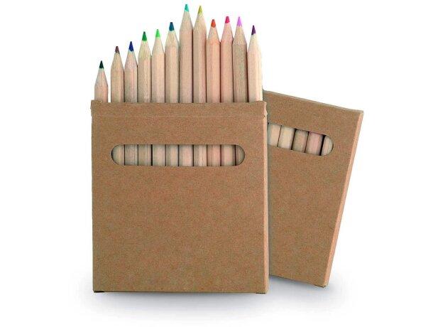 Caja de 12 lápices de madera de colores personalizada