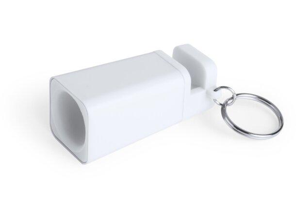 Altavoz mini con llavero personalizado blanco
