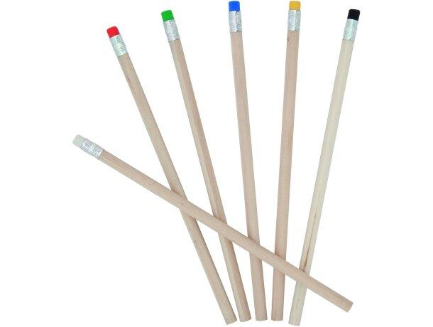 Lápiz de madera con goma a color personalizado