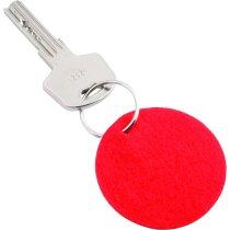 Llavero redondo fieltro personalizado rojo