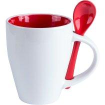 Taza de cerámica cónica blanca con cuchara de color roja