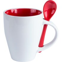 Taza personalizado de cerámica cónica blanca con cuchara de color roja