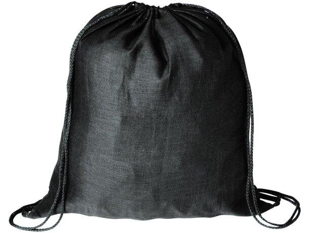 Mochila saco de gran capacidad con cuerdas personalizada negra