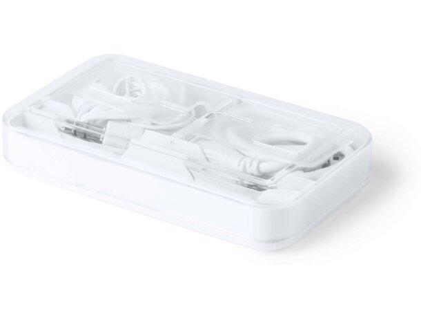 Set de auriculares ligeros y modernos personalizado blanco