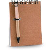 Bloc de notas en cartón reciclado y bolígrafo mini personalizada