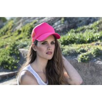 Gorra técnica de poliester en colores de alta visibilidad personalizada fucsia fluorescente
