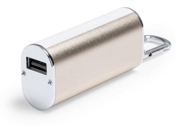 Batería portátil con luces led de 2600 mah personalizada dorado