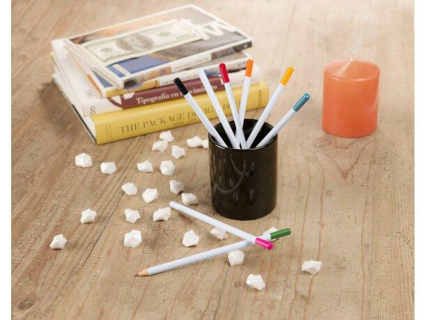Lápiz blanco de madera con detalle a color barato