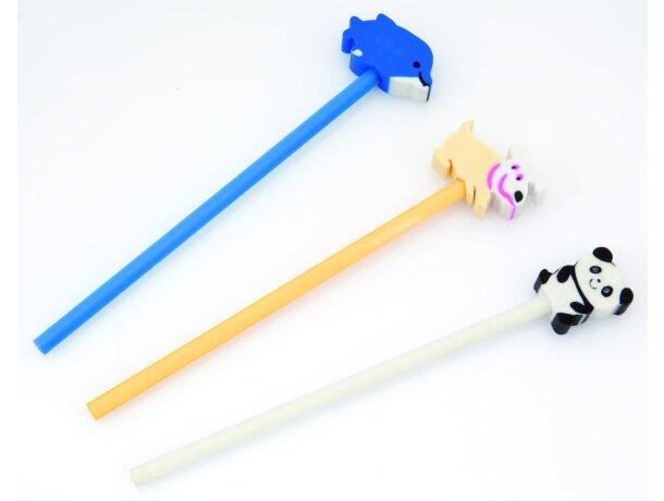 Lápiz de madera con panda de goma personalizado