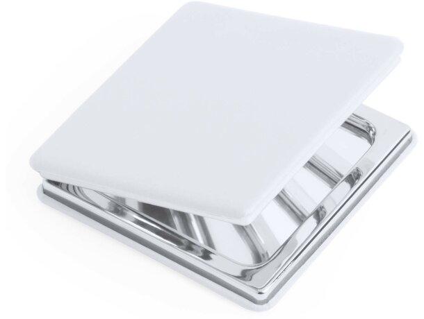 Espejo acabado polipiel blanco grabado