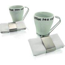 Juego de café con dos tazas y dos servilletas personalizada