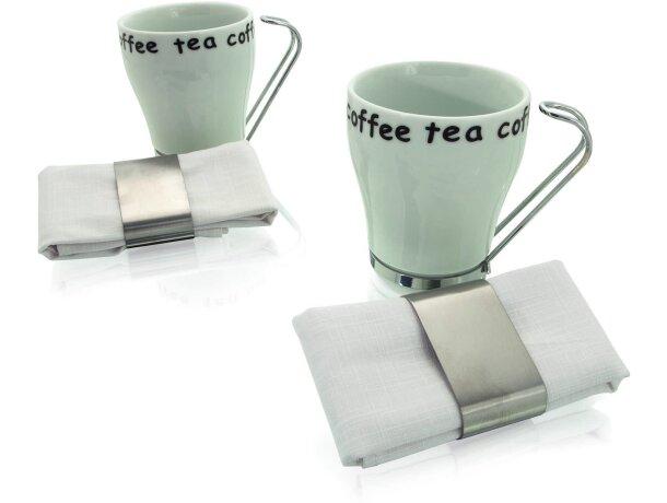 Juego de café con dos tazas y dos servilletas