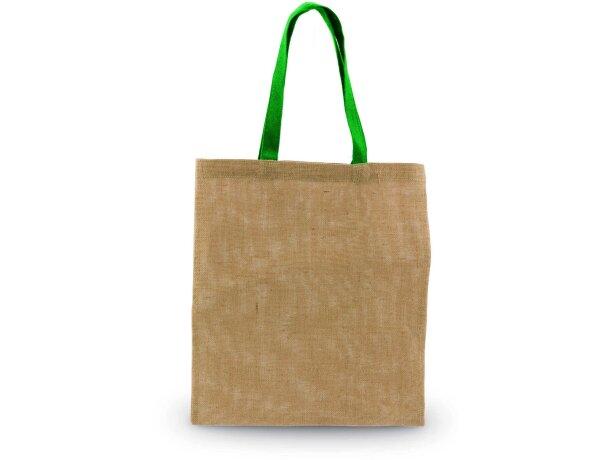 Bolsa de fibra natural con asa de color grabada