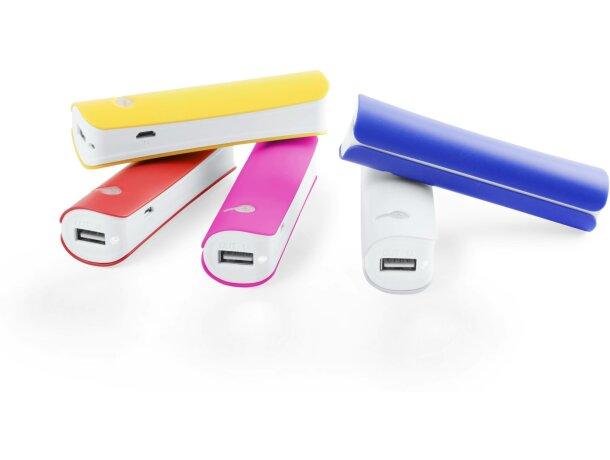 Batería externa con led y cable personalizada blanca
