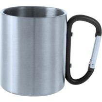 Taza de acero inoxidable 200 ml con mosquetón negra personalizada