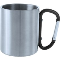 Taza de acero inoxidable 200 ml con mosquetón negra