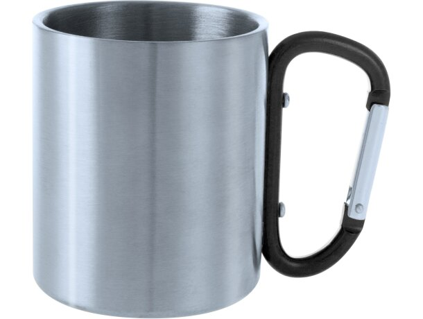 Taza de acero inoxidable 200 ml con mosquetón negra personalizado