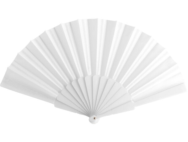 Abanico de tela con varillas de plástico blanca