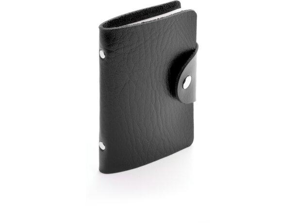Tarjetero de polipiel con cierre de botón personalizado negro