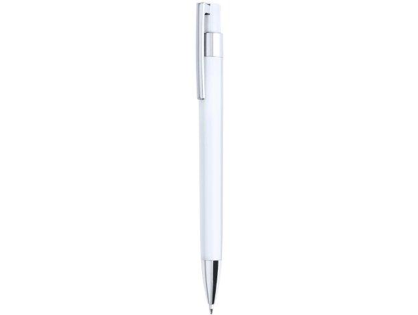 Bolígrafo de color con clip en cromado de la marca Alexluca personalizado blanco