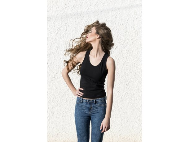 Camiseta de tirantes de mujer personalizada negra
