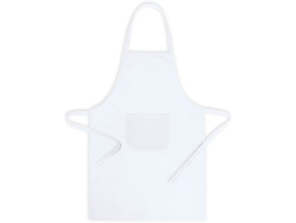 delantal de tejido mixto con bolsillo personalizado blanco