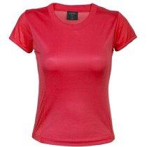 Camiseta deportiva transpirable para mujer 135 gr personalizada roja