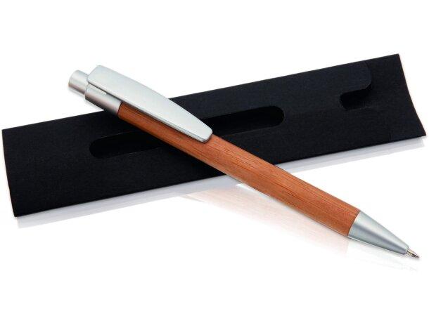 Bolígrafo de madera de bambú con funda grabado natural