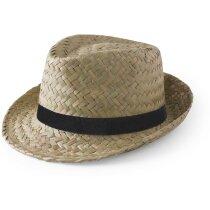 Sombrero ala irregular de paja personalizado verde