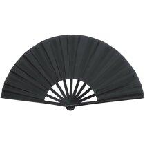 Abanico con varillas de plástico en varios colores personalizado negro