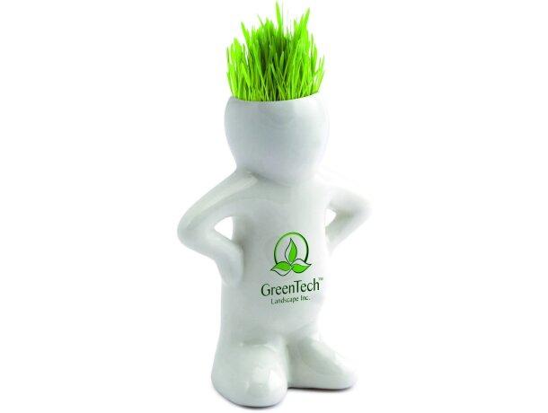 Muñeco de cerámica con semillas de cesped personalizado