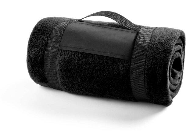 Manta polar de viaje 200 gr personalizada negra